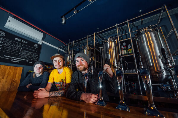 Gareth Cash, Jono Crute and Joel Anderson pictured at Crew Brewing Gareth CashLimerick Company on Thomas Street, Limerick. Picture: Brian Arthur