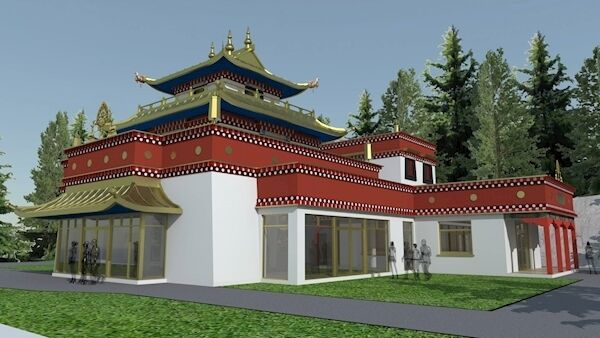 Artists impression of the new Buddhist Temple under construction at Dzogchen Beara, Co Cork. Picture Dan Linehan