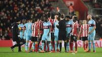 Saints hold on for win despite having Victor Wanyama sent off