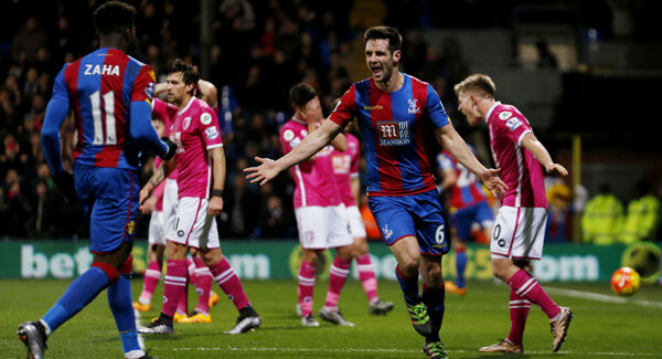 Crystal Palace's Scott Dann celebrates scoring their first goal of the game at Selhurst Park. Photo: Paul Harding/PA