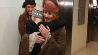 WATCH: Captain Jack Sparrow surprises sick kids in Children's hospital