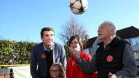 Johnny Giles shows his support for Labour's sports policy