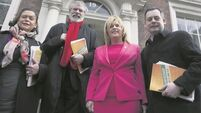 Sinn Féin protest against bin charges at Leinster House today