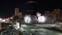 Watch as last tower of famous Las Vegas casino is reduced to rubble