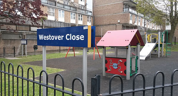 Westover Close in Sutton, south west London, where six-year-old Ellie Butler died from her injuries. Pic: PA
