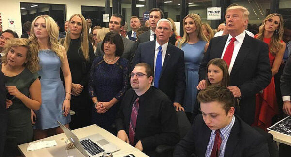 In this Instagram picture posted by Donald Trump Junior, Donald Trump watches election results with family and supporters. Picture: PA