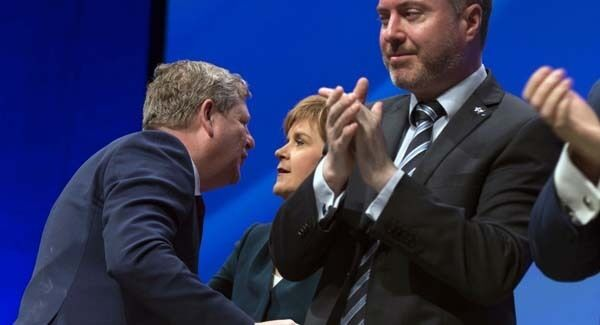 First Minister of Scotland and the leader of the Scottish National Party Nicola Sturgeon on stage with the new Deputy Leader of the SNP Angus Robertson at the party's biggest-ever conference in Glasgow today.