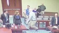 See the moment a paedophile tries to stab prosecutor just before he is convicted of abusing girl, 10