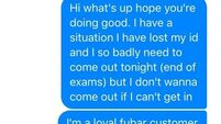 Check out this comical Facebook request sent to a nightclub by a desperate student