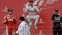 Nico Rosberg wins in Baku after resolving same technical fault as Lewis Hamilton during race