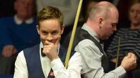 Peter Ebdon crashes out of World Championship, champion Stuart Bingham on the brink