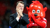 Louis van Gaal booed by home fans and goaded by away fans during speech
