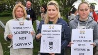 Army families protest on behalf of members of the Defence Forces