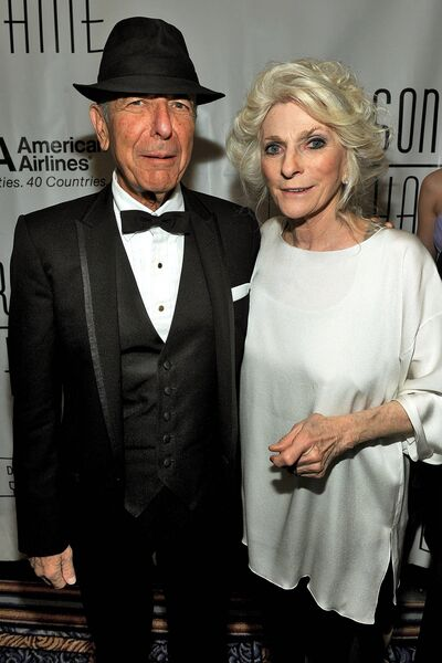 Collins with Leonard Cohen at the Songwriters Hall of Fame in 2010 in New York.