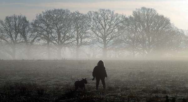 A woman walks her dog through the early morning fog near Copthorne in West Sussex this morning. Pic: PA