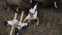 Two gored as crowds take on second bull run of famous Pamplona festival