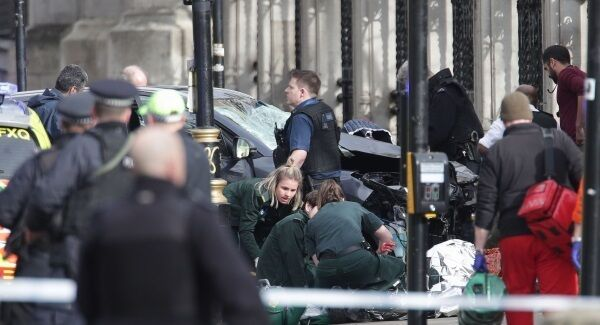 Emergency personnel close to the Palace of Westminster in London.