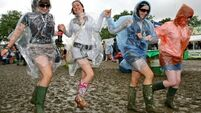 Slane-goers are not letting the rain dampen their spirits