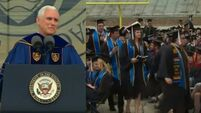 WATCH: Students stage walk out during Mike Pence's graduation speech
