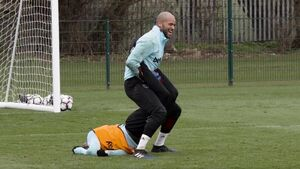 West Ham's Darren Randolph tried out some WWE moves on winger Michail Antonio