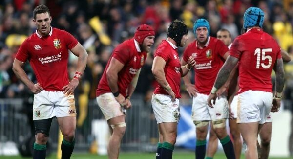 British and Irish Lions' Leigh Halfpenny (centre right), George North (left) and team-mates stand dejected during the tour match at the Westpac Stadium, Wellington. Picture:PA
