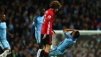 Marouane Fellaini sees red in goalless Manchester Derby
