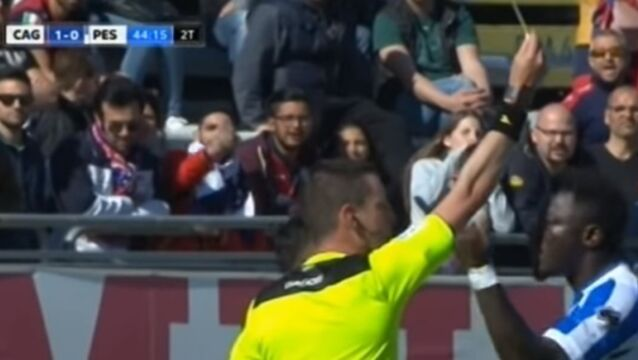 WATCH: Pescara midfielder Sulley Muntari booked after reporting racial abuse to Serie A referee