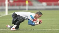 Shay Given, Alex Bruce and Wes Brown training with Macclesfield