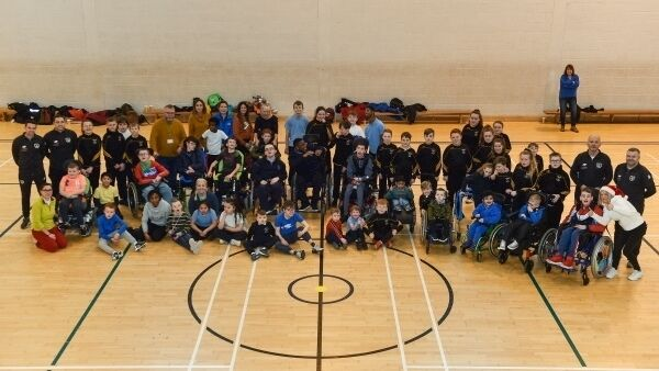 Participants get in the festive spirit during the FAI/SDCC Christmas Fun Day at Tallaght Leisure Centre in Dublin.