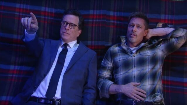 Brad Pitt and Stephen Colbert ponder the meaning of life on a picnic blanket