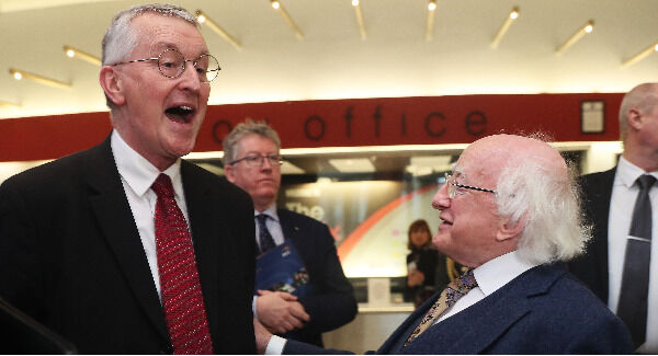 President Michael D Higgins (right) with Hilary Benn, Chairman of the UK House of Commons Committee on Exiting the EU, ahead of speaking at a one-day conference to formally launch the DCU Brexit Institute at The Helix in DCU today