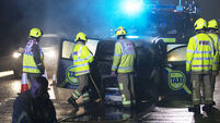 Lucky escape for driver as taxi catches fire