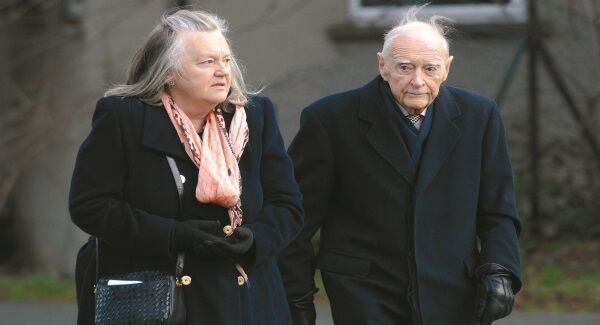 Liam Cosgrave who passed away last night arrives with his daughter Anna at the Church of St Therese at Mount Merrion where the Papal Nuncio celebrated a mass to mark World Day of Peace in 2013.