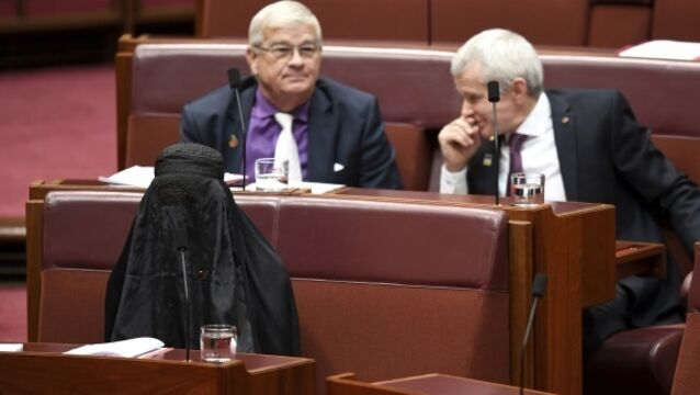Anti-immigrant Australian senator causes uproar by wearing burka in Parliament