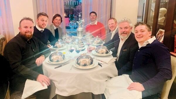 Enjoying a celebratory Christmas lunch with the Claret Jug from left: Shane Lowry, Brian Moran, Neil Manchip, Robbie Cannon, Paraic O'Reilly, Brian 'Bo' Martin, and Conor Ridge.