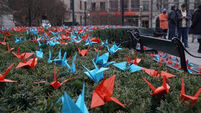Anti-nuclear Nobel Peace group displays paper birds made by Hiroshima children