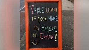 Is your name Eimear or Eamon? Here's how you can avail of a free lunch