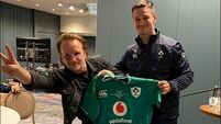 U2 star Bono talks to Irish rugby team about 'what it means to be Irish and what's special about it'