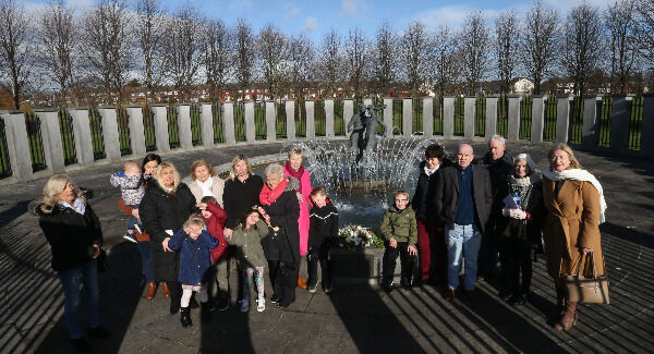 Four generations of victims' families who went to a Stardust Memorial Mass yesterday, followed by a wreath-laying ceremony at Stardust Park, Coolock. Picture: Stephen Collins