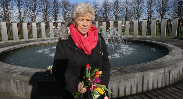 Christine Keegan, who lost two daughters in the fire, Mary and Martina, at a wreath-laying ceremony at Stardust Park, Coolock. Picture: Stephen Collins