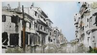 Irish artist paints the reality Syrian city, Aleppo