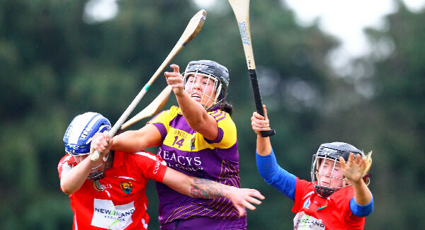 Wexford's Una Lacey in action against Cork's Ashling Thompson and Laura Tracey. Pic: ©INPHO/Ken Sutton