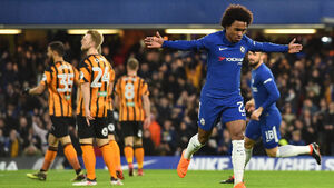 Willian scores twice as first-half blitz sends Chelsea past Hull