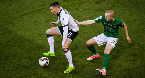 Patrick McEleney of Dundalk in action against Stephen Dooley of Cork City. Picture: Sportsfile