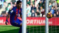 Luis Suarez and Paulinho steer Barca to win as Messi hits woodwork three times