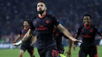Arobatic effort from Olivier Giroud gives Arsenal win over 10-man Red Star Belgrade