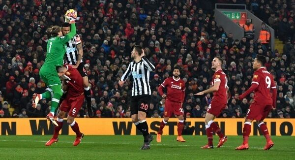Liverpool goalkeeper Loris Karius saves a shot during the Premier League match at Anfield, Liverpool. Pic: Anthony Devlin/PA Wire.