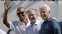These three were lucky enough to get a presidential selfie with a golf legend