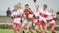 A close game in the All-Ireland Ladies junior football championship semi-final