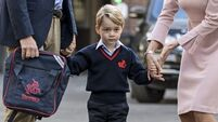 William takes Prince George on first school run as too-sick Kate stays at home